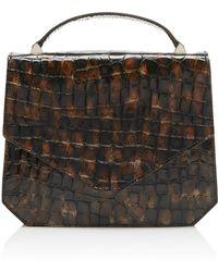 Emilia Wickstead Apollonia Crocodile-effect Leather Cross-body Bag - Brown