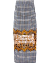 Rahul Mishra Patched Lace Tartan Skirt - Gray