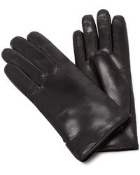 Maison Fabre - Black Leather And Rabbit Fur Gloves - Lyst