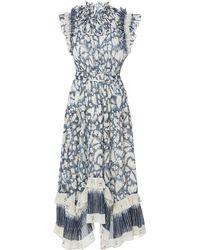 Ulla Johnson - Amalia Floral-print Cotton And Silk-blend Midi Dress Size - Lyst
