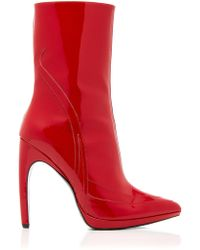 Rodarte Patent Ankle Boot - Red