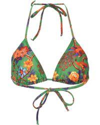 LaDoubleJ - Floral-print Triangle Bikini Top - Lyst