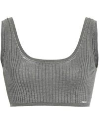Prada Ribbed Silk Cropped Bra Top - Gray