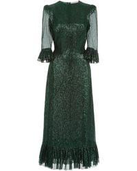 The Vampire's Wife The Falconetti Metallic Chiffon Midi Dress - Green