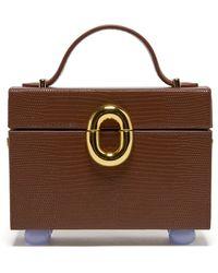 Lizzie Fortunato Cinema Box Lizard-effect Leather Top Handle Bag - Brown