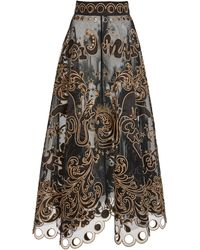 Zimmermann Ladybeetle Fortune Appliquéd Tulle Maxi Skirt - Black