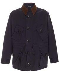 Monitaly Military Half Corduroy-trimmed Cotton-twill Coat - Blue