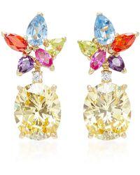 Anabela Chan Lily Diamond And Multi-stone 18k Gold Vermeil Earrings - Metallic