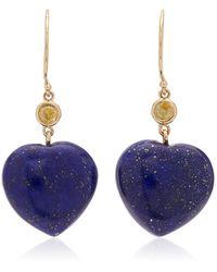 Haute Victoire 14k Yellow Gold Lapis, Sapphire Earrings - Blue