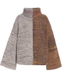 Victoria, Victoria Beckham Oversized Two-tone Lambswool Sweater - Multicolor