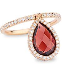 Nina Runsdorf Medium 18k Rose-gold Garnet And Diamond Flip Ring - Red