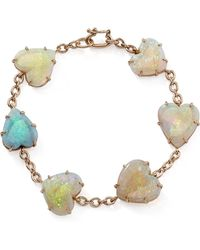 Irene Neuwirth - One-of-a-kind 18k Rose Gold Opal Hearts Bracelet - Lyst