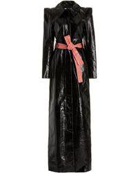 Aliétte Belted Patent Leather Maxi Dress - Black