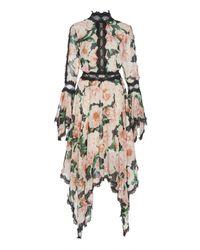Costarellos Lace-trimmed Floral Georgette Midi Dress - Multicolor