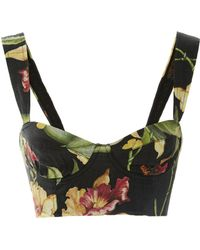 Agua by Agua Bendita Passiflora Floral-print Bustier Linen Top - Black