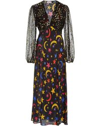 RIXO London Melanie Star-print Silk Midi Dress - Multicolour