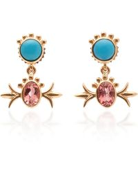 Marlo Laz - Squash Blossom 14k Gold, Turquoise And Pink Tourmaline Hanging Studs - Lyst