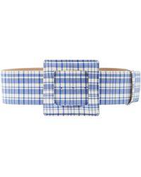 Carolina Herrera Plaid Wool Large Square Buckle Belt - Blue