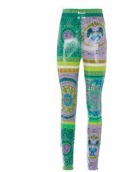 Versace Coated Stretch Jersey Skinny Pants - Metallic