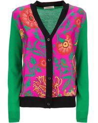 LaDoubleJ Gemini Silk-wool Two-tone Cardigan - Pink