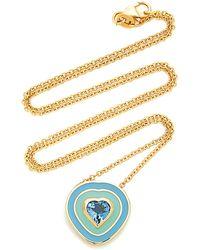 Sig Ward 18k Gold, Enamel And Aquamarine Necklace - Metallic