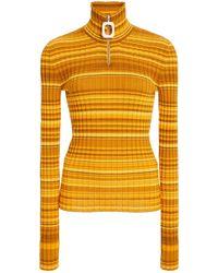 JW Anderson Striped Wool Turtleneck Jumper - Yellow