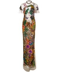 Roberto Cavalli | Embroidered Tulle Dress | Lyst