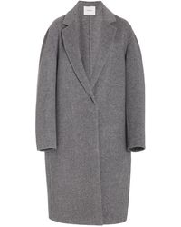 Vince Collared One Button Wool-blend Coat - Grey