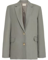 Loulou Studio Bambo Structured Collared Linen Blazer - Grey