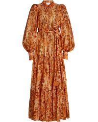 Acler Naples Floral Cotton-blend Maxi Dress - Orange