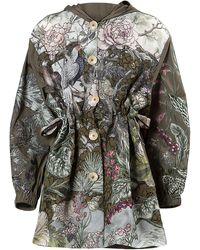 Biyan Kenny Hooded Silk Jacket - Green