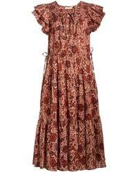 Ulla Johnson Kasim Printed Cotton-blend Midi Dress - Red