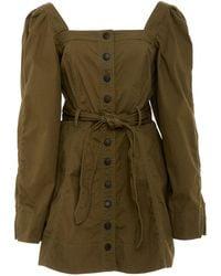 Marissa Webb Dakota Structured Canvas Cotton-blend Mini Dress - Green