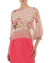 Alberta Ferretti Printed Silk Chiffon Top - Pink