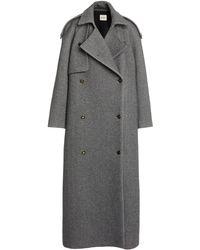 Khaite Gwyn Oversized Wool-blend Trench Coat - Grey