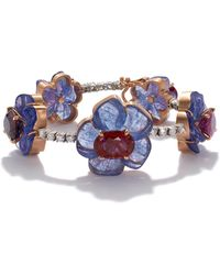 Irene Neuwirth Carved Tanzanite And Sapphire Flower Bracelet - Blue