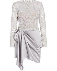 Marchesa Draped Satin Mini Dress - Grey