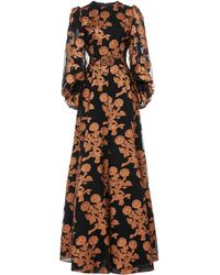 Andrew Gn Floral Fil Coupé Silk Organza Gown - Black