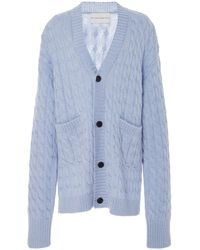 Matthew Adams Dolan Mohair-blend Cable-knit Cardigan - Blue