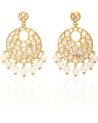 Sanjay Kasliwal - 22k Gold, Diamond And Pearl Earrings - Lyst