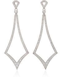 Sara Weinstock Deco Marquis White Gold White Diamond Drop Earrings