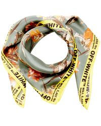 Off-White c/o Virgil Abloh Logo-trimmed Floral-print Silk Scarf - Green