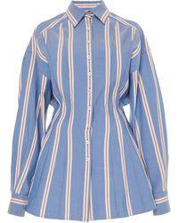 Carolina Herrera Oversized Striped Poplin Shirt - Blue