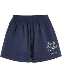 Sporty & Rich Stars Health Cotton Jersey Disco Shorts - Blue