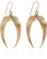 Annette Ferdinandsen 14k Gold, Pearl And Sapphire Earrings - Metallic