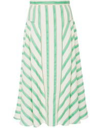 Delpozo - Striped Linen-blend Midi Skirt - Lyst