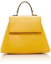 Emilia Wickstead Small Accordion Leather Top Handle Bag - Yellow