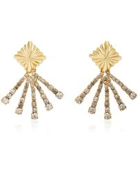 Nicole Romano - 18k Gold-plated Scalloped Crystal Earrings - Lyst