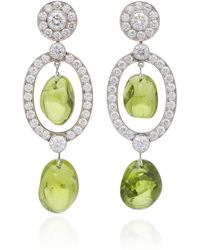 Goshwara - Platinum, Peridot And Diamond Earrings - Lyst