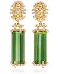 Goshwara 18k Yellow Gold Tourmaline, Diamonds Earrings - Green